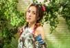 罗漩碎花绿纱裙魅力写真