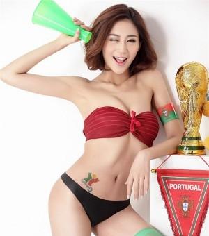 世界杯足球宝贝陈洺洺香艳美照 火辣身材力挺葡
